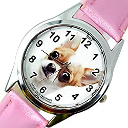 TAPORT® BEVERLY HILLS CHIHUAHUA Quartz Watch PINK Leather Band +FREE SPARE BATTERY+FREE GIFT BAG