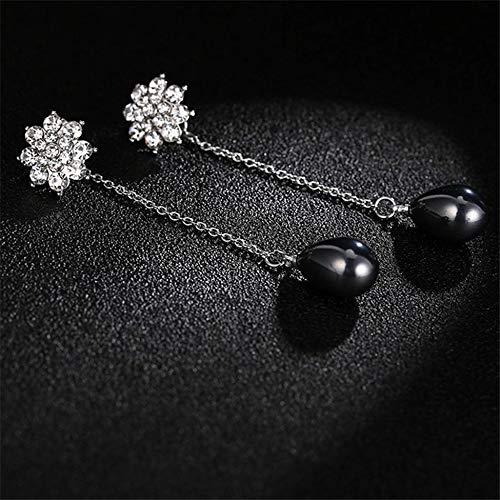 creatspaceDE Frauen einfache Perlen-Haken-Ohrringe baumeln runde Frischwasser Kultivierte weiße Perlen-Ohrringe Schmuck Valentinstag Geschenke E279 Farbe: Schwarz