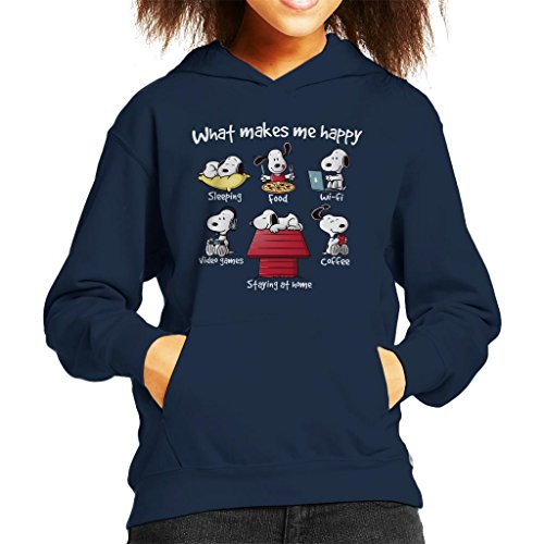Cloud City 7 Snoopy Staying at Home Makes Me Happy Kid's Hooded Sweatshirt - Snoopy Junk-food
