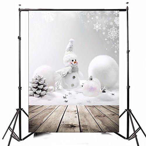 MASUNN 3x5ft Weihnachtsthema Weihnachts-Schneemann Holz Fotografie Vinyl-Hintergrund