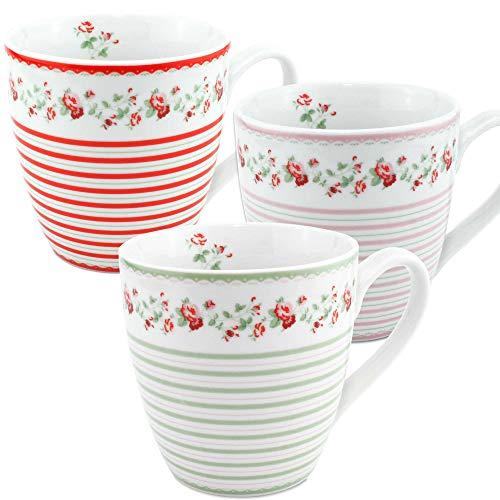 MC Trend Jumbobecher Larissa XXL-Tasse 3er Set aus Porzellan mit Rosen Dekor 480ml Kaffee Tee Kakao Becher Tasse Set