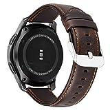 MroTech Compatible para Huawei 2 Classic GT Correa de Reloj Cuero Genuino Piel 22mm Pulsera de Repuesto para Samsung Gear S3 Frontier Classic, Galaxy Watch 46mm, Amazfit Pace Stratos (Café,Grande)