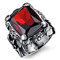 خاتم رجالي مرصع بحجر عقيق أحمر كبير مصنع من التيتانيوم عليه نقش رجعي us9