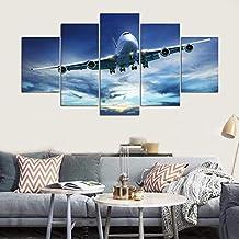 231ccb029d WZYWLH Cuadros modulares de Pintura HD Impresiones en HD Blue Sky Aircraft  Poster 5 Unidades Enfriar