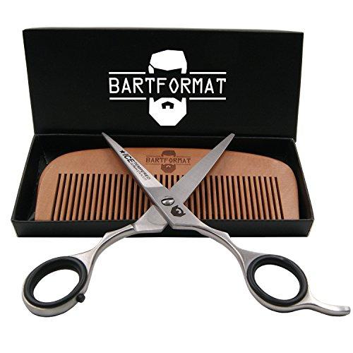 """Bartpflege Set """"KURZMACHER"""" von BARTFORMAT - Bartschere (16 cm) Edelstahl matt + Bartkamm (13 cm) 100% Birnbaumholz - sehr scharfe Schere für den Bart, mit herausnehmbaren Fingerverkleinerern"""