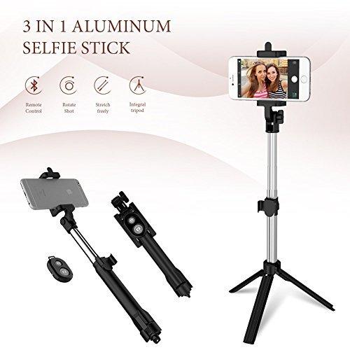 Anggo kabelloser Bluetooth Selfie-Stick, ausziehbar, mit Fernbedienung und integriertem Stativ für Reisen, Heim-Videos - kompatibel mit iPhone, Samsung, Android Handys - 2