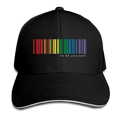 Sport-sandwich-cap (Feruch Freshj LGBT Pride Rainbow Men's Contrast Baseball Cap Sandwich Peak Black)