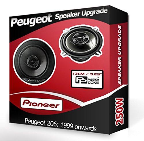 """Peugeot 206 PORTIERE ARRIERE haut-Parleurs de 13,3 """"de marque Pioneer 13 cm de haut-Parleur de voiture kit 210 Watts"""