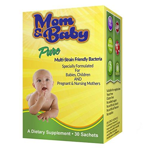 Mom und Baby Pure Multi Bakterienstämme in Pulverform zur einfachen Einnahme - Sichere Anwendung für Säuglinge, Kleinkinder und Kinder für Darmflora und Immunsystem- 1 Milliarde nützliche Bakterien wie Lactobacillus Acidophilus - Gut während der Schwangerschaft und für stillende Mütter- 30 Beutel (1 pro Tag) - ohne Zusatzstoffe - #1 Hochwertige Bakterienkultur für Kinder -