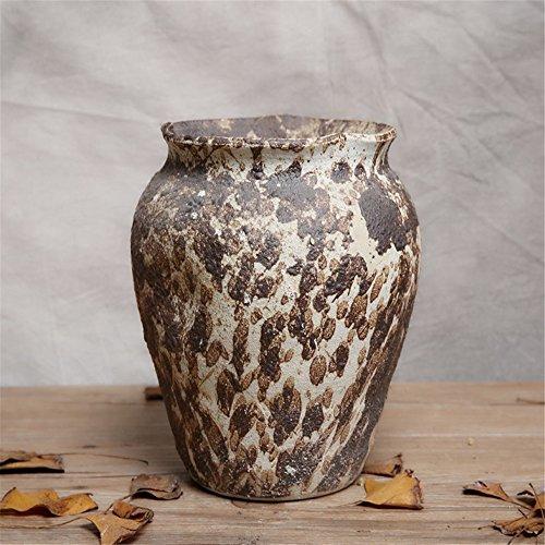 NOHOPE Retro Keramik Vasen Emulation Blumenkübel Desktop Dekoration grobe Keramik Blumentopf Ornamente,C