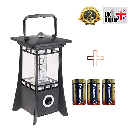 Allcam Vision 24 LED Camping Lantern - Ultrabright Lamp for Fishing, Hunting, Home, Garden light, Caravan or Outdoor Led Lights with Dimmer Switch and 3x Panasonic Pro Gold D Batteries included (Emergency Light Switch)