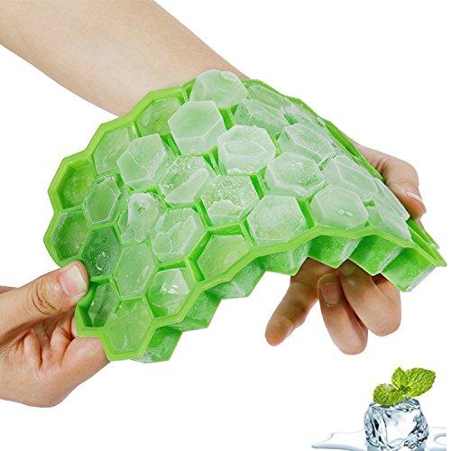 Eiswürfelform Silikon mit Deckel, Eiswürfelbehälter, Ice Cube Tray,Eiswürfelbereiter BPA Frei, 37-fach Eiswürfel , für whisky, cocktail,Babynahrung, Saft, Soda, LFGB Zertifiziert, Einfach zu bedienen und Waschen(grün)