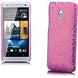 iCues HTC One Mini M4 |  Glitzer Case Rosa | [Display Schutzfolie Inklusive] Strass Glitzer Glitter Luxus Bling Damen Frauen Mädchen Schutzhülle Hülle Cover Schutz