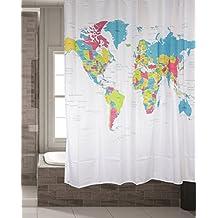 """'Cortina de ducha Mapa del Mundo """""""