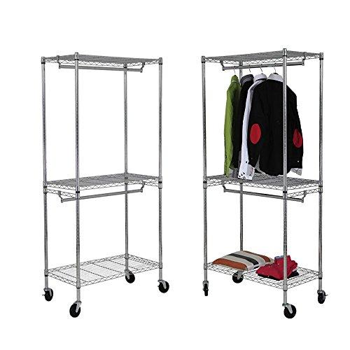 Yorbay Industrie Kleiderschrank 270kg rollbar mit Kleiderstange und Einlegeboden (2*Kleiderstange+2*Einlegeboden ohne Bezug)