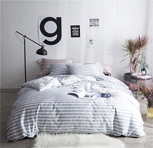 Bettbezug Bettwäsche Blatt Set 100% Reiner Baumwolle Zeitgenössische Geometrischer Reversibel Streifen 4 Stücke Mit Einem Bettbezug Ein Spannbettuch Zwei Kissenbezüge, Voller Königin Bett Größe,B,Queen