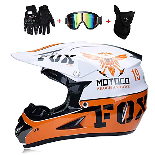 YuCar Motocross Helm für Erwachsene, MX Motorradhelm-Roller Kinder Helm Straßenrennen D.O.T Zertifiziert mit Handschuhen Windproof Maske Goggle,G,XL