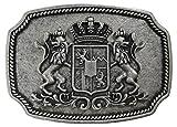Fronhofer Trachten Gürtelschnalle Bayern altsilber Buckle 40 mm, 4 cm Bayerisches Wappen Löwen matt silber Schnalle,18051, Farbe:Silber, Größe:One Size