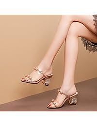 JING Sandales féminines Mot dans l'été et Bold et à Talons Hauts Élégants Chaussons Chaussons Cool