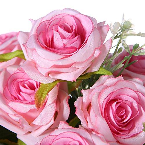 Rose artificiali di seta, sensazione reale al tocco, 12 fiori Pink - 4