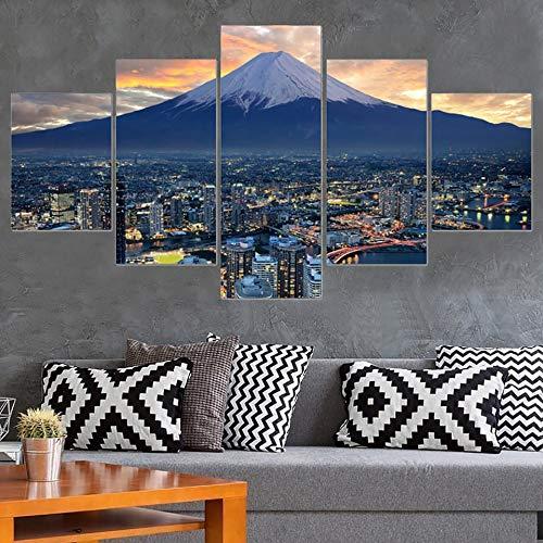ISAAC ENGLAND Cuadro Sala de Estar Decoración del hogar Arte de la Pared Carteles 5 Panel Japón Paisaje de la Ciudad Pintura Moderna Sobre Lienzo HD Cuadros Impresos-, 40x60 40x80 40x100cm