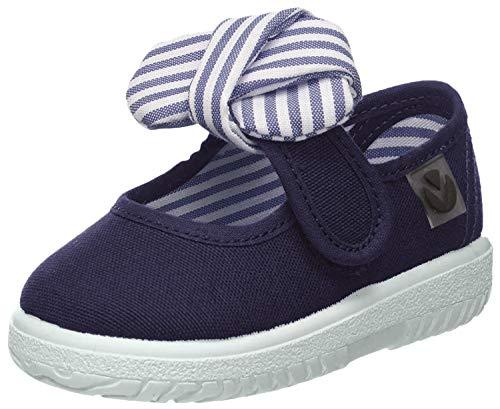 Victoria Mercedes Lona Pañuelo, Zapatos de primeros pasos para Bebé-Niñas, Azul Marino, 18 EU