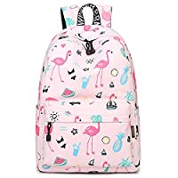 Women Bagpack Cute Pink Flamingo Animal Printing School Backpack for Teenage Girls Waterproof Knapsack Mochila for Girls All-match Canvas Travel Laptop Bags
