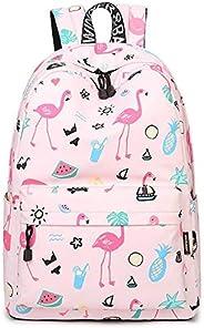 Cute Flamingo Backpack Water Resistant Laptop Backpack Bookbags School Bags Travel Daypack For Girls Women