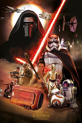 Star Wars - Episode VII - Das Erwachen der Macht EP7 Montage - Poster Plakat - Größe 61x91,5 cm + 2 St Posterleisten Holz 61 cm