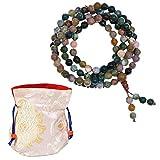 Mala Hinduista/Budista y Sijismo Collar o Pulsera Elástico con 108 Piedras de Ágata para Meditar, Rezar y como Protección