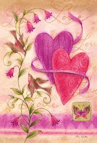Toland Home Garden Love Birds Deko-Fahne für Valentinstag, Herz, Frühling, Blumen, Vogel, Gartenflagge
