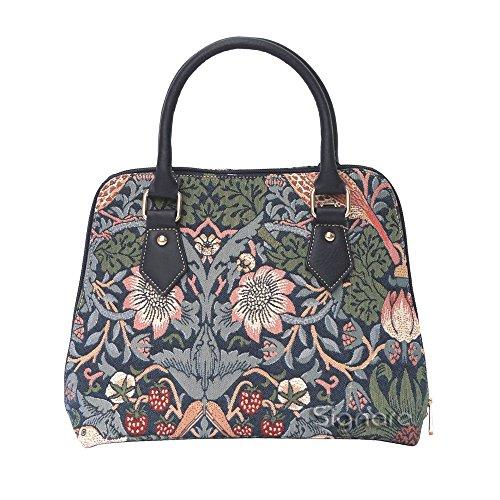 Mittelgroße Handtasche/-Schultertasche für Damen (Erdbeere blau) - im Gobelin Stil -