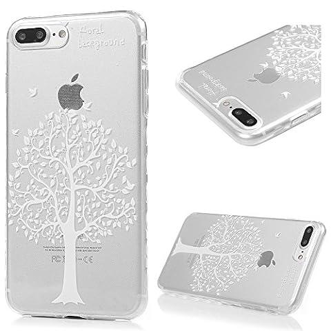 iPhone 7 Plus Hülle Case Kasos iPhone 7 Plus Ultra Dünn TPU Silikon Schutzhülle Handytasche Gemalt Transparent Wellenförmige Border Smart Cover mit Weiße Bäume Design