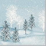 Duni Zelltuch Serviette Winter Mornings 33x33 cm 250 Stück, Tischdeko Weihnachten, Servietten Weihnachten, Weihnachten Winter Mornings