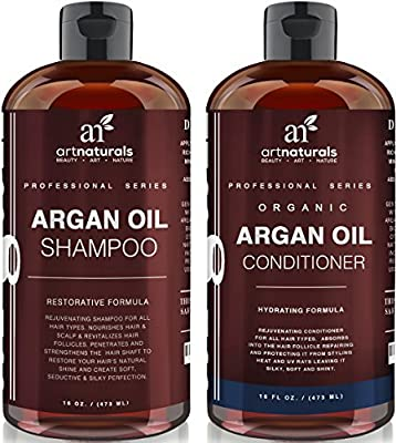 Art Naturals Organic Moroccan Argan Oil Shampoo and Conditioner Set (2 x 473 ml) - Sulfate Free - Volumizing & Moisturizing, Gentle on Curly & Color Treated Hair,For Men & Women Infused with Keratin from Artnaturals