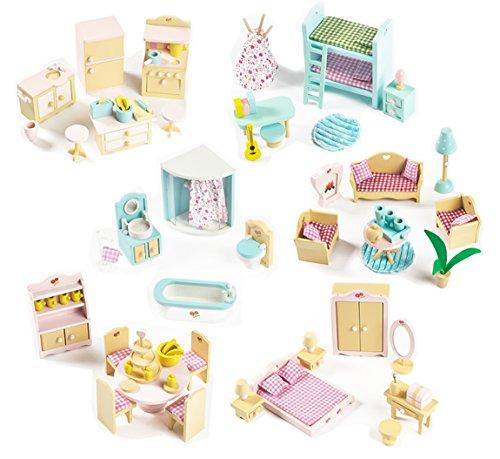 Komplette Packung mit 6 Möbel-Sets für Sweetbee-Holz-Puppenhaus, 6 schöne Raum-sets für Kinder-Puppenstuben
