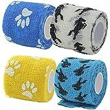 Impoted Cat Dog Pet Cohesive Bandage Gauze Tape Medical Care Wrap Horse Print Blue