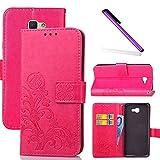 COTDINFOR Samsung J5 Prime Hülle für Mädchen Elegant Retro Premium PU Lederhülle Handy Tasche im Bookstyle mit Magnet Standfunktion Schutz Etui für Samsung Galaxy J5 Prime Clover Red SD