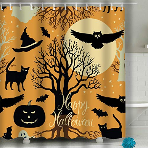 zexuandiy Heavy Duty PEVA Shower Curtain Thickness, Mildew Resistant w/No Chemical Smell 60x72 INCH Happy Halloween Pumpkins Bats Cats Black tr Trees