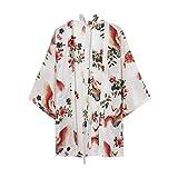 Kesheng Damen Kimono Bluse Cardigan Kranich Blumen Drucken Lose Japanisch Sommer