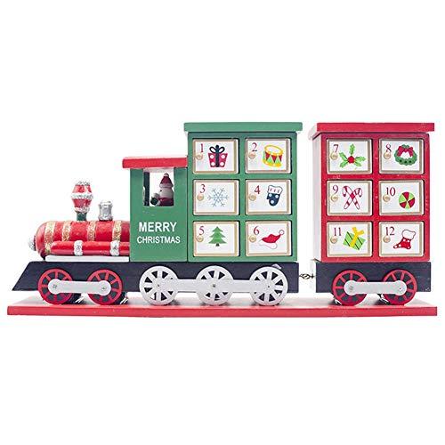 Ardentity Petit Train Calendrier de L'avent en Bois Rouge, Décoration de Noël, Petit Train Calendrier Compte à rebours