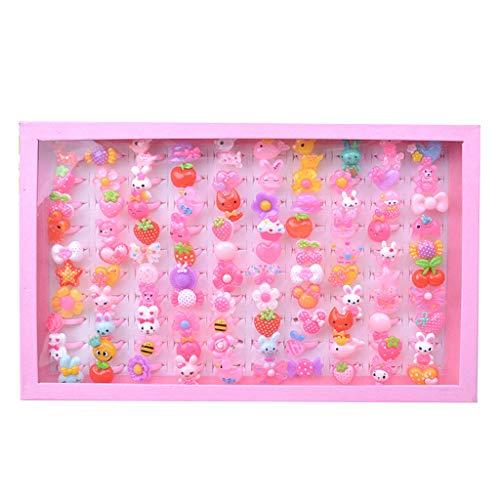 WuLi77 100 piezas anillos joyería juego niños, colores
