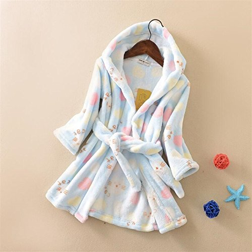 Muster Flanell-pyjama (WEILIVE Gemütlich Kinder Kleinkinder Katzen Muster Flanell Bademantel Kapuzen Bademantel Nachtwäsche Nachthemd Pyjamas Handtuch-Kleid (Farbe : Blau))