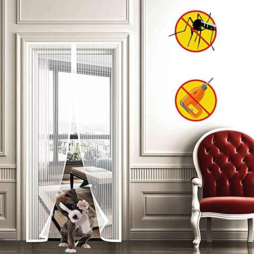 WISKEO Fliegengitter Mit Magnet Insektenschutz, Fliegenvorhang Klettband Selbstklebend, Moskitonetz Magnetverschluss, Full Frame, Geschenke Balkontür - Weiß 95x210cm