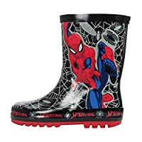 Spiderman Boys Rubber Wellies in Black and Red