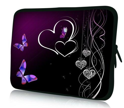wortek Universal Laptoptasche Schutzhülle Sleeve aus Neopren bis ca. 13,3 Zoll - Schmetterling Herzen Schwarz Lila