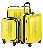 HAUPTSTADTKOFFER - X-Berg - 3er Koffer-Set Hartschalen-Koffer Koffer Trolley Rollkoffer Reisekoffer, TSA, (S, M & L) Gelb matt