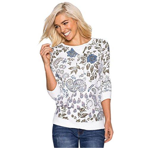 FEITONG de las mujeres de algodón manga larga blusa ocasional de tapas de la camisa (S, Blanco)