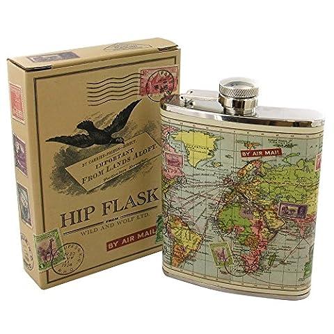 Wild & Wolf World Map Hip Flask (Gift