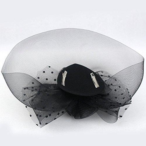 Fleur ¨¦l¨¦gante voile en forme fillet de maille a pois Fascinator pince ¨¤ cheveux chapeaux en plume pour mariage et soir¨¦e Cocktail Noir 73